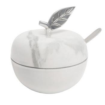 White Marble Honey Jar