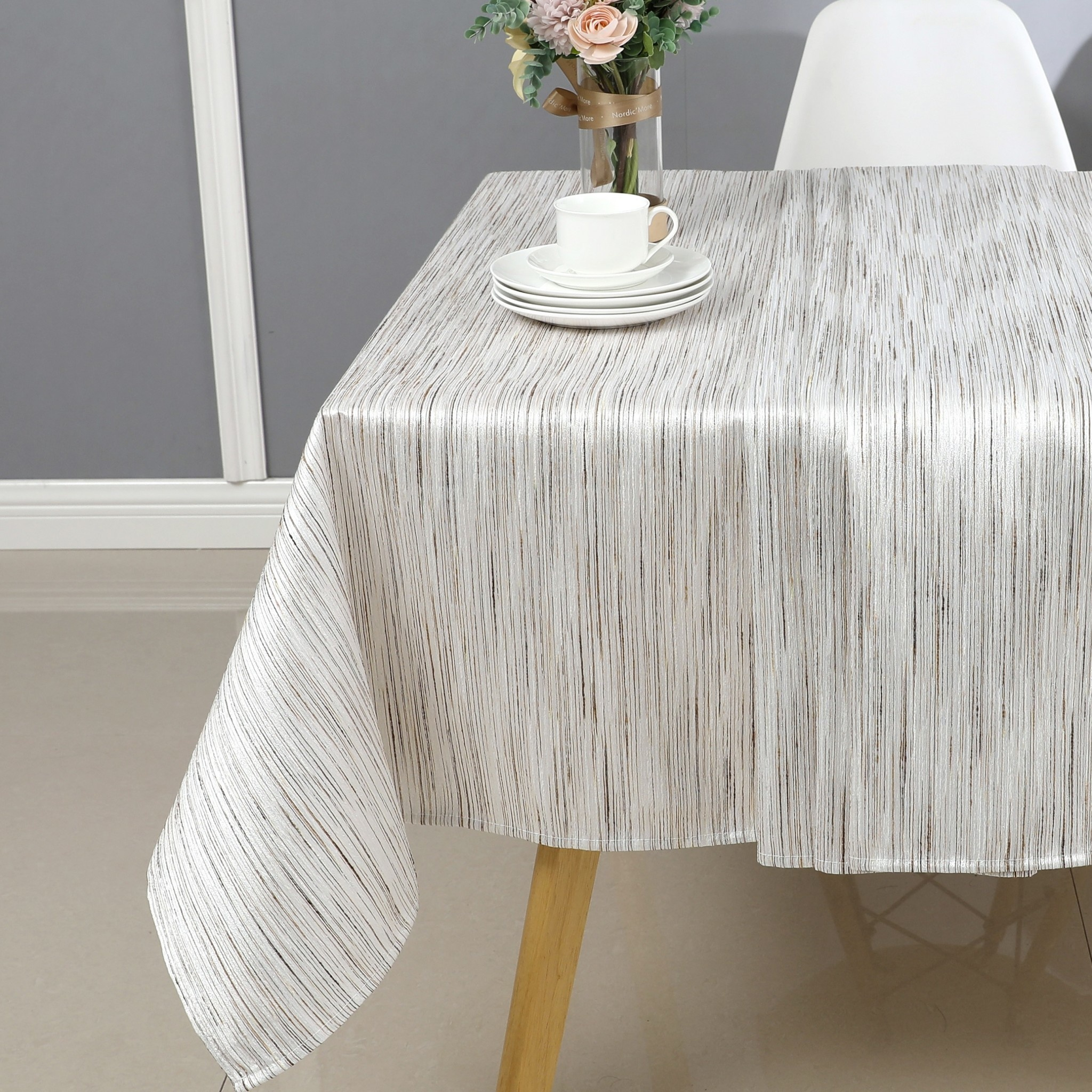 TC1313- 70 x 144 Jacquard Gold/Silver Tablecloth