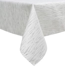TC1317- 70 x 144 Jacquard  White/silver Tablecloth
