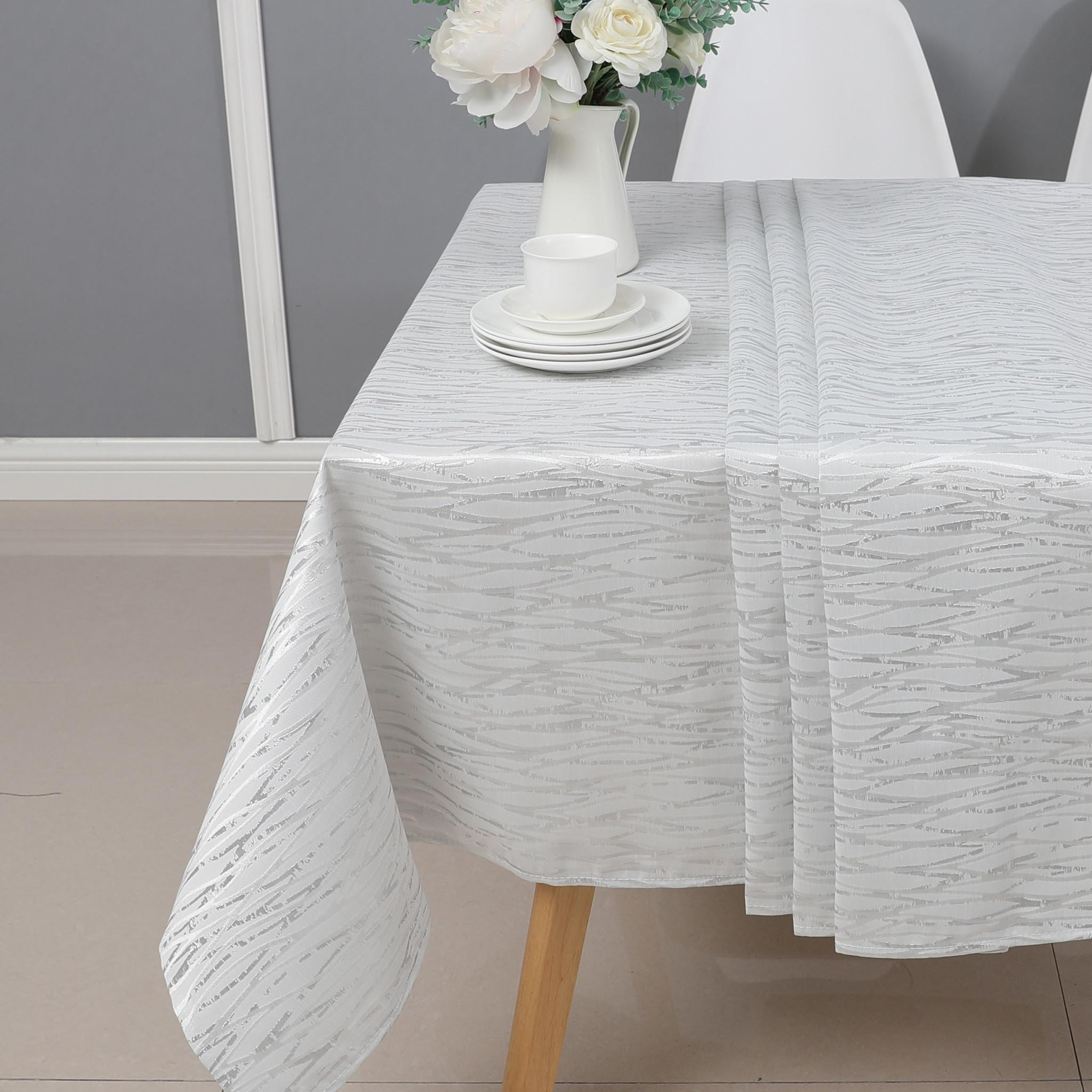 TC1317- 70 x 144 Jacquard  White/silver Tablecloth