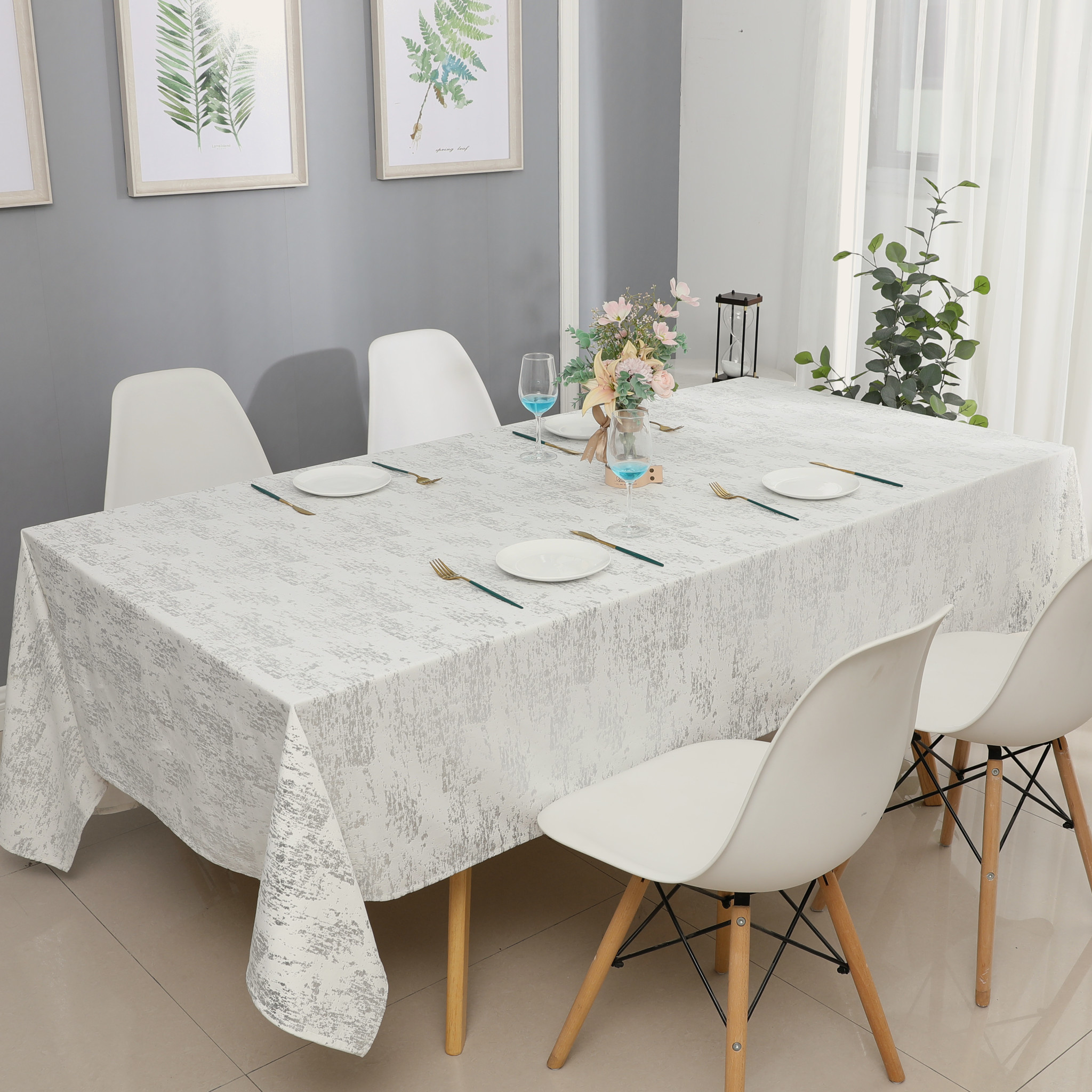 TC1403- Mosaic White Silver Print 70 x 160 Tablecloth
