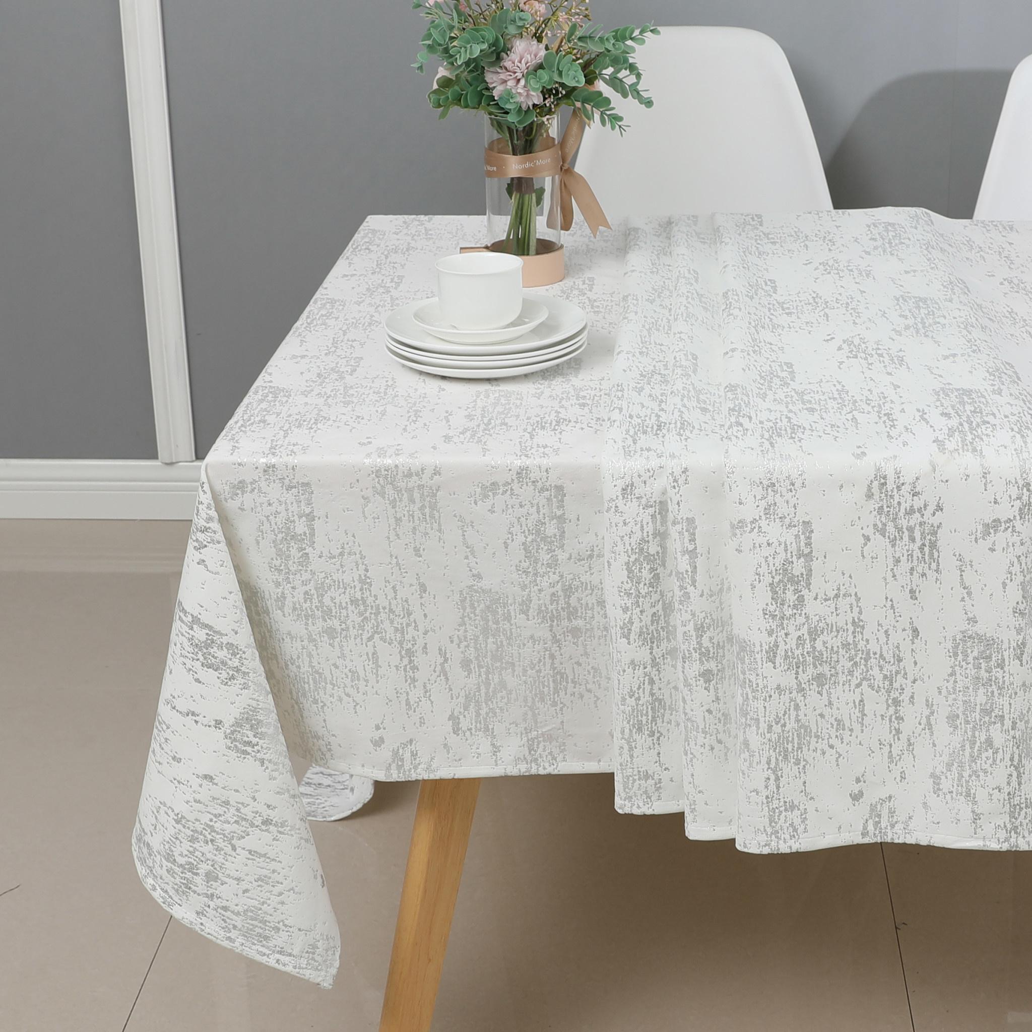 TC1403- Mosaic White Silver Print 70 x 144 Tablecloth