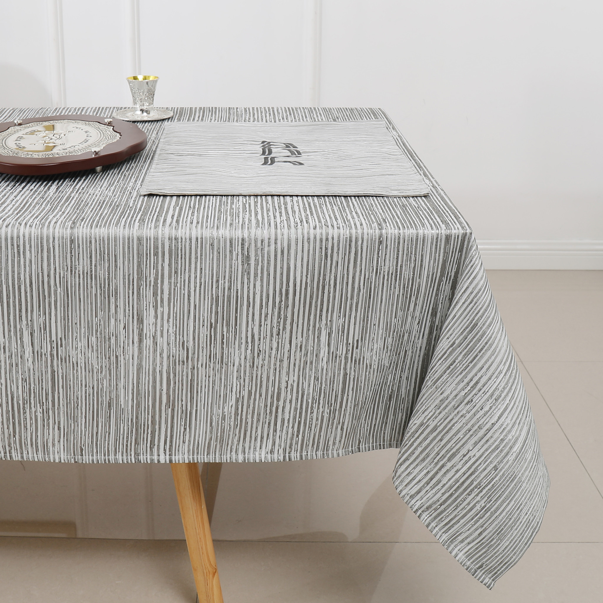 TC1204- 70 x 108 Jacquard Silver Lines Tablecloth