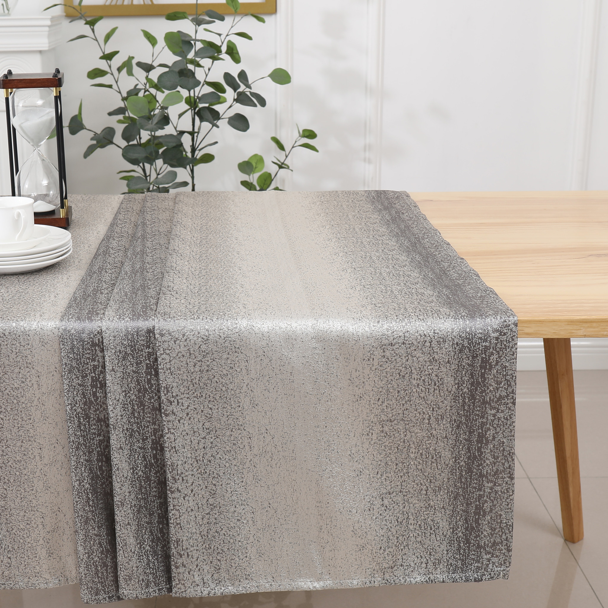 TC1202- 70 x 108 Jacquard Silver Tablecloth