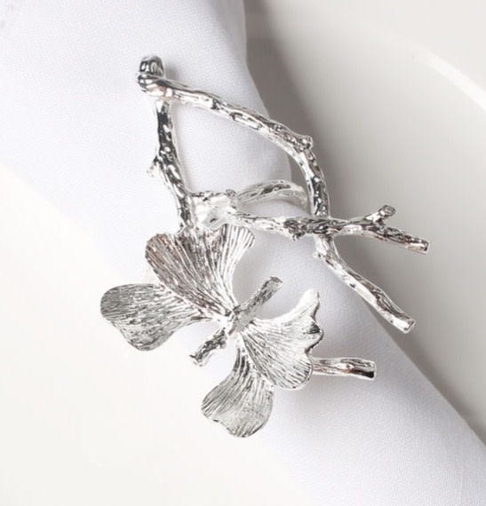 Silver Butterfly on Branch Napkin Ring
