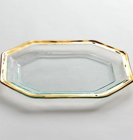 Annie Glass Gold Roman Antique Serving Platter