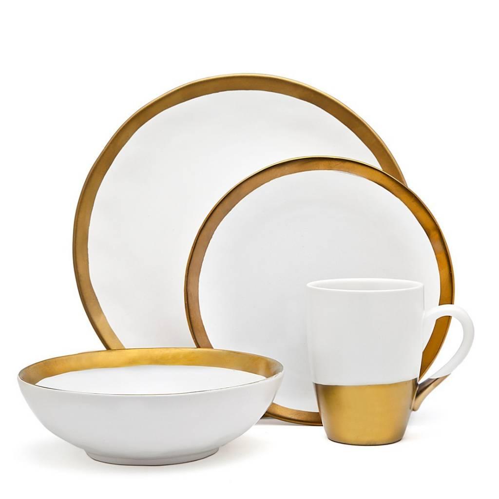 Godinger Silver Art Co Terre Gold Dinnerware set of 4