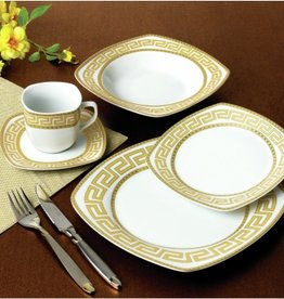 Greek Key Square 20 pc Dinnerware Set