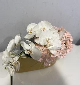 Droplet Gold Vase with Pink Hydrangeas