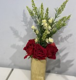 Bamboo Glass Mosaic Gold Vase w Roses