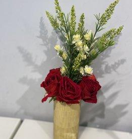 Bamboo Glass Mosaic Gold Vase w Roses