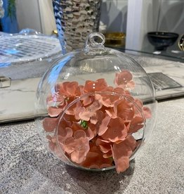 Hanging Glass Bowl with Pink Hydrangea