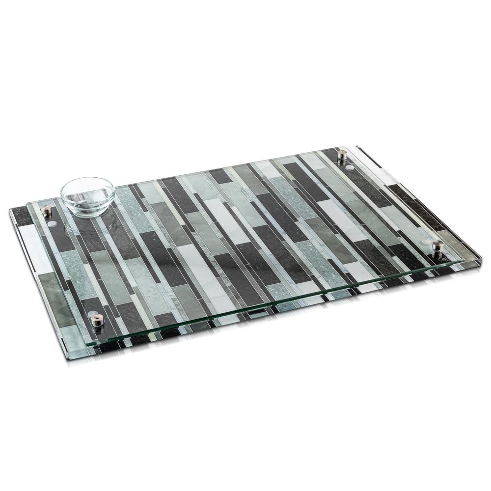 Waterdale Collection Lucite Mosaic Style Grey Challah Board