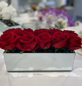 "12"" Mirror Vase with Red Roses"