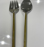 Tube Gold Salad Serving Spoons