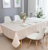 TC1312 70x 160 Jacquard White/Gold Tablecloth