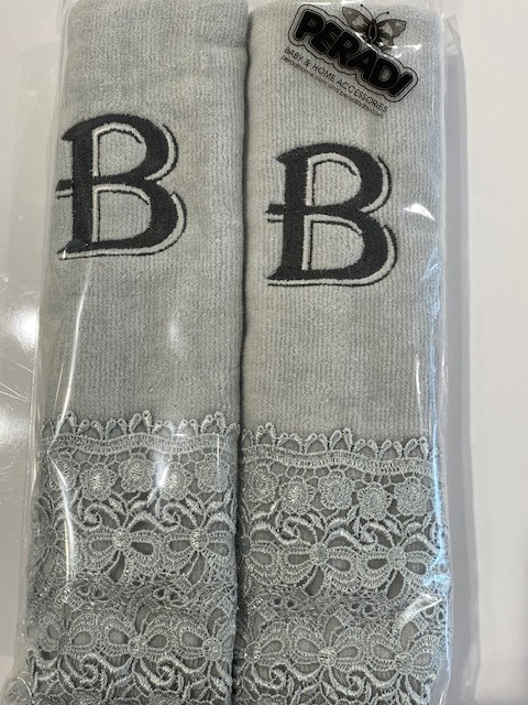 2 Charcoal Towels with Algerian Letter B