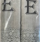 2 Charcoal Towels with Algerian Letter E