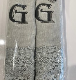 2 Charcoal Towels with Algerian Letter G