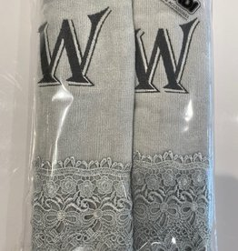 2 Charcoal Towels with Algerian Letter W