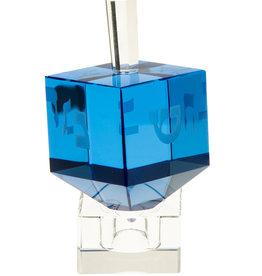 Crystal Blue Dreidel on Stand