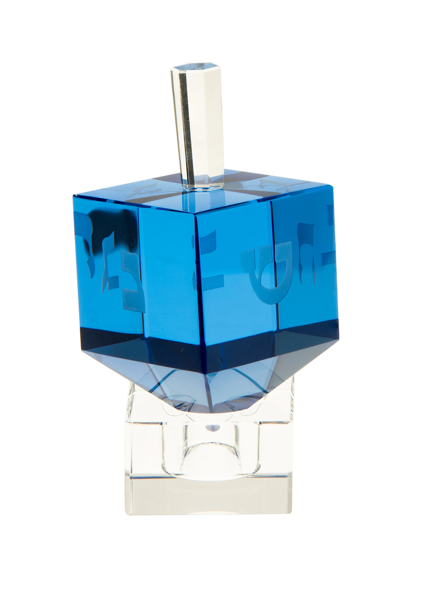 Crystal Blue Dreidel on Stand