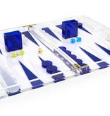 "18"" Lucite Backgammon - Blue/White"