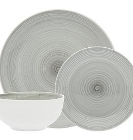 Spiral Grey Porcelain 12 pc Dinnerware set