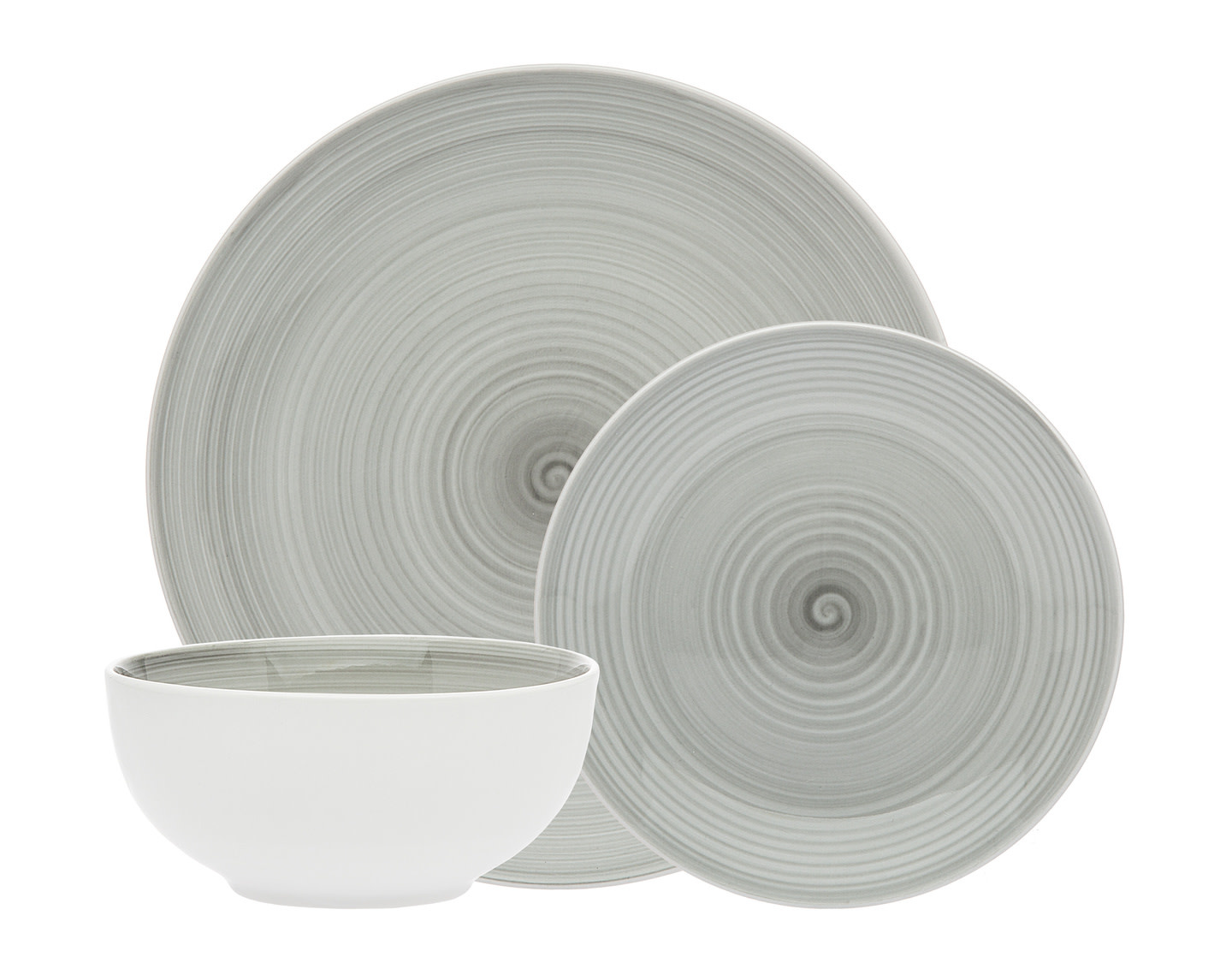 Spiral Grey Porcelain 12 pc Dinnerware set