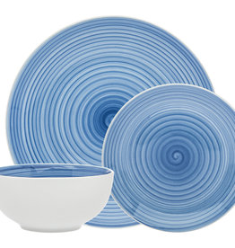 Spiral Blue Porcelain 12 pc Dinnerware set