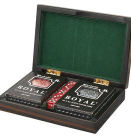 Wood Ebony Box Poker Set
