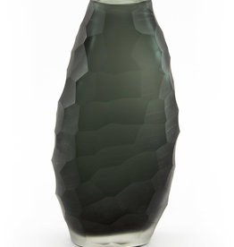 Glass Hammered Grey Vase