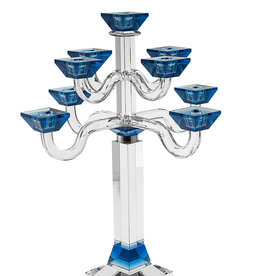 Blue Crystal SS Square 9 Branch Candelabra