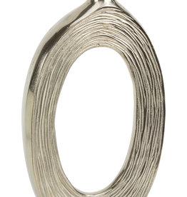 """Silver Metal Vase w Stripes 21.25"""""""