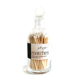 Glass Apothecary Bottle of Matches with Glass Ball Stopper White