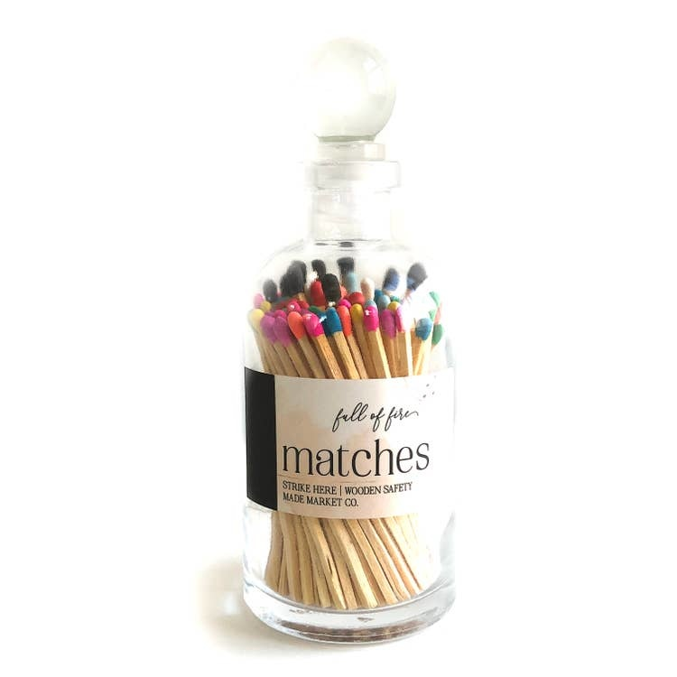 Glass Apothecary Bottle of Matches with Glass Ball Stopper MULTI