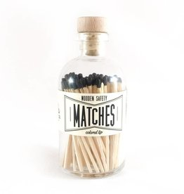 Glass Apothecary Bottle of Matches with Cork Stopper Black