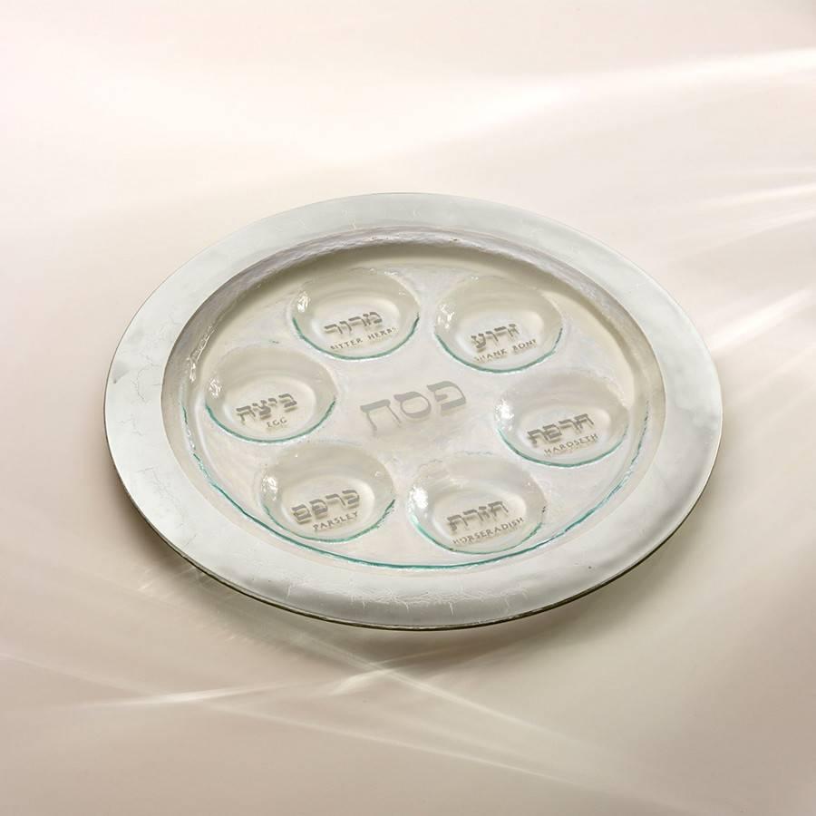 Annie Glass Glass Platinum Seder Plate