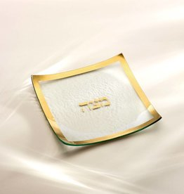 Annie Glass Glass Gold Matzah Plate