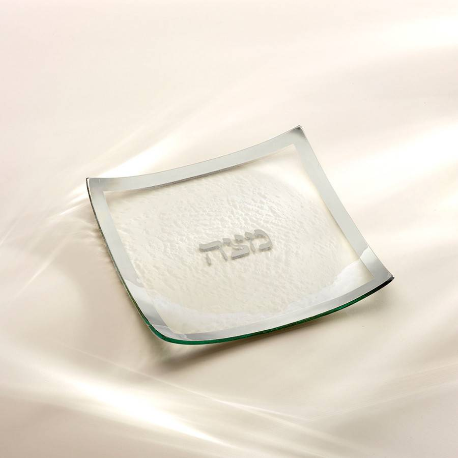 Annie Glass Glass Platinum Matzah Plate