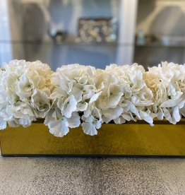 "18"" Gold Mirror Vase With White Hydrangeas"