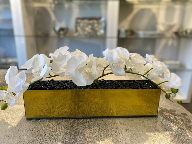 "18"" Gold Mirror Vase with Arched White Orchids"