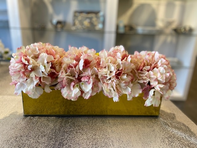 "18"" Gold Mirror Vase With Pink Hydrangeas"