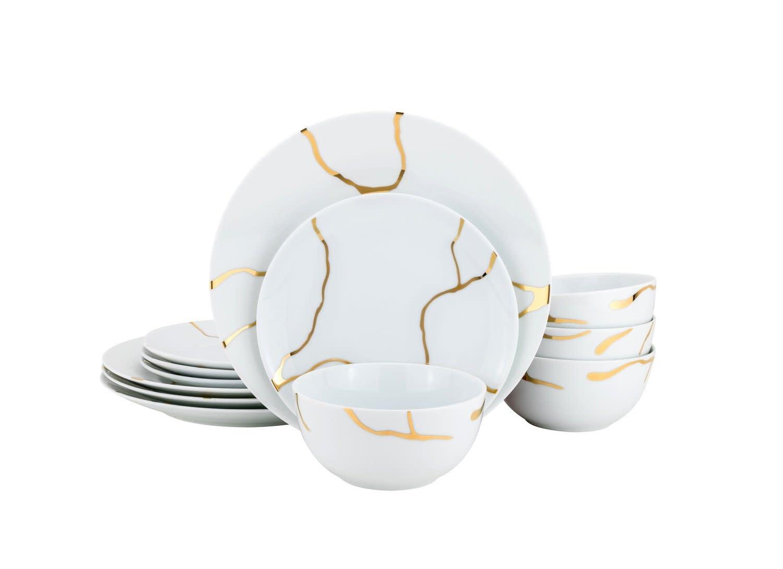 Storm Gold 12 pc Dinnerware Set