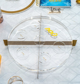 Metal Seder Plate Clear/Gold