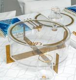 Metal Matzah Box Clear/Gold