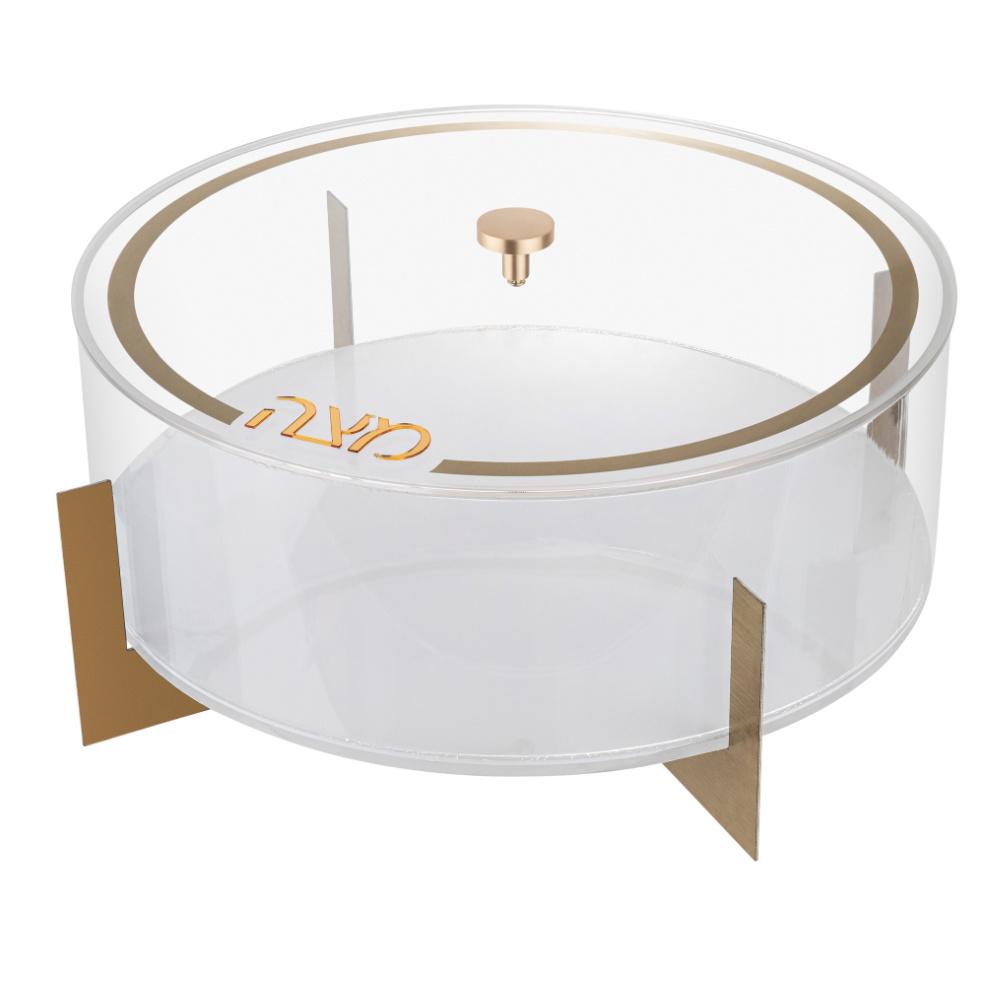 Metal Matzah Box White/Gold