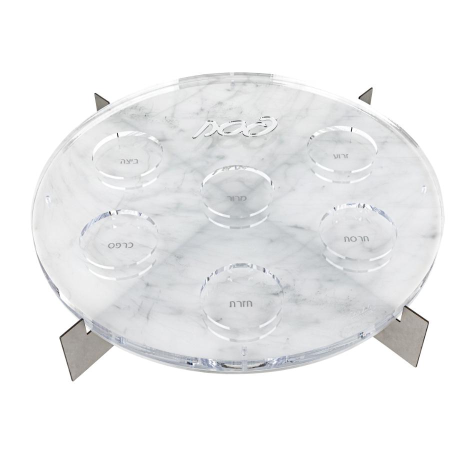 Metal Seder Plate Marble/Silver