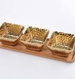 3 Gold square bowls with wood tray