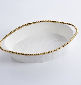 Oval White/ Gold Baking Dish